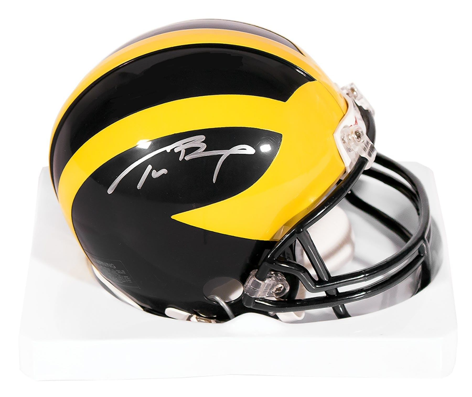 b0af1776b Tom Brady Autographed University of Michigan Wolverines Mini Helmet