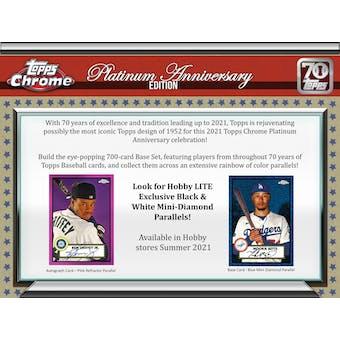 2021 Topps Chrome Platinum Anniversary Baseball Hobby LITE 16-Box Case (Presell)