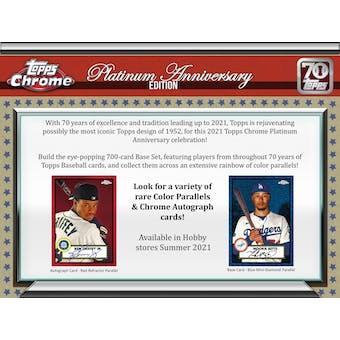 2021 Topps Chrome Platinum Anniversary Baseball Hobby Box (Presell)
