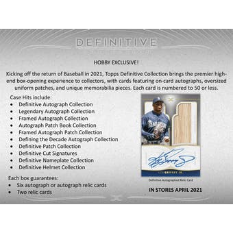 2021 Topps Definitive Collection Baseball 1-Box - DACW Live 8 Spot Random Hit Break #4