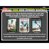 2020 Topps Heritage High Number Baseball Hobby Box (Presell)