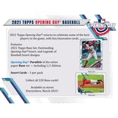 2021 Topps Opening Day Baseball Hobby 20-Box Case (Presell)