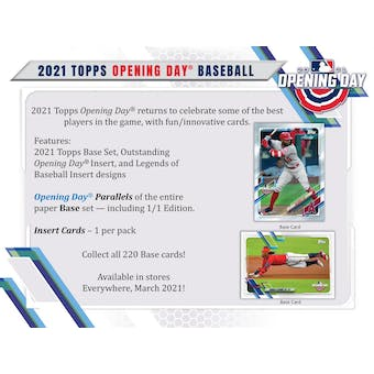 2021 Topps Opening Day Baseball Hobby 20-Box Case (Presell)