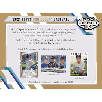 2021 Topps Pro Debut Baseball Hobby 12-Box Case (Presell)