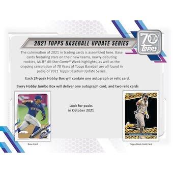 2021 Topps Update Series Baseball Hobby Jumbo 6-Box Case (Presell)