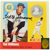 Ted Williams Autographed Pure Silver Coin Card (Green Diamond)