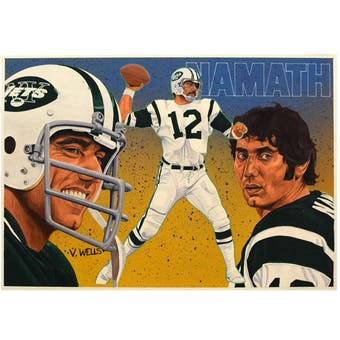 Joe Namath New York Jets Upper Deck 25 x 20 Unframed Original Art