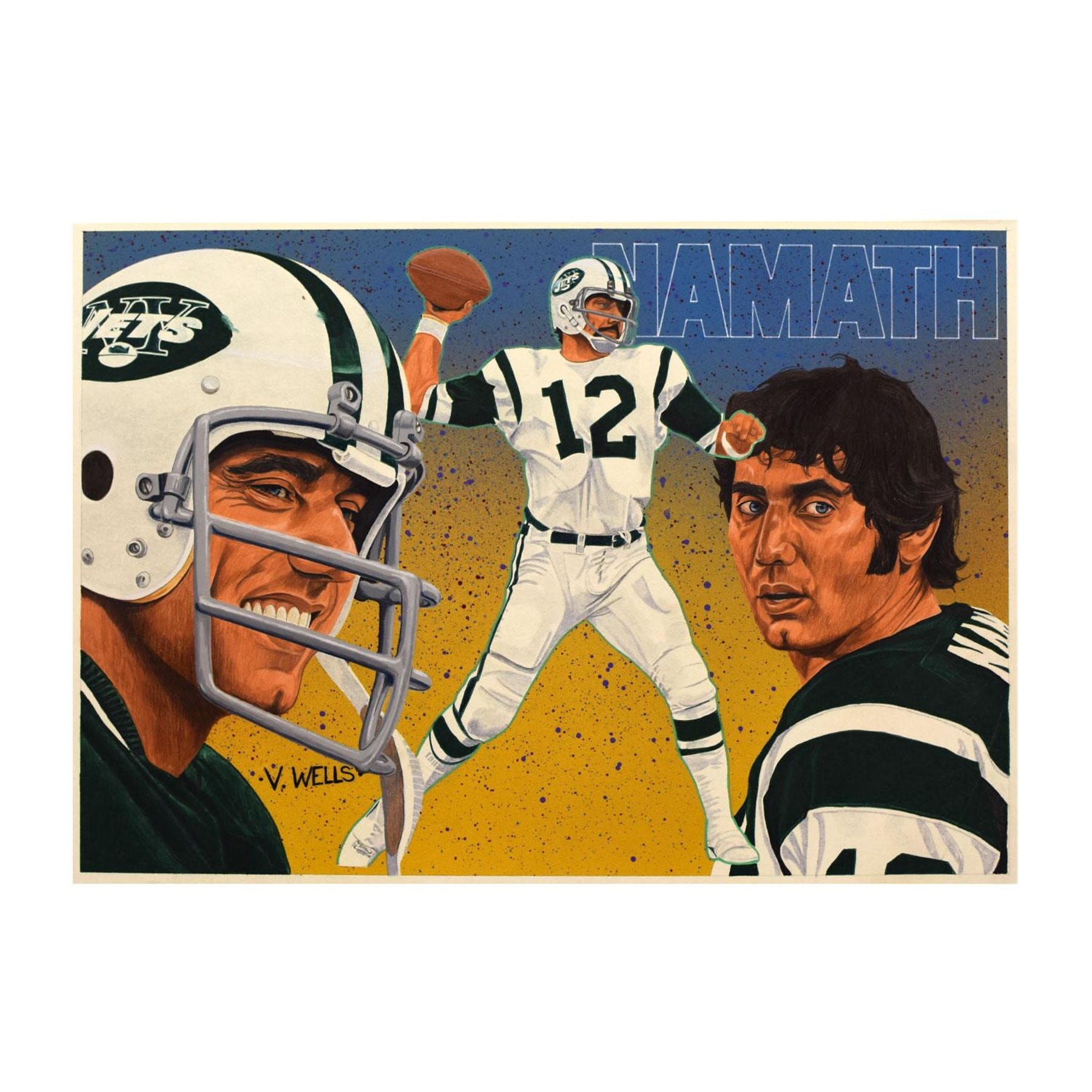 buy online ce3ef 3fe31 Joe Namath New York Jets Upper Deck 25 x 20 Unframed Original Art