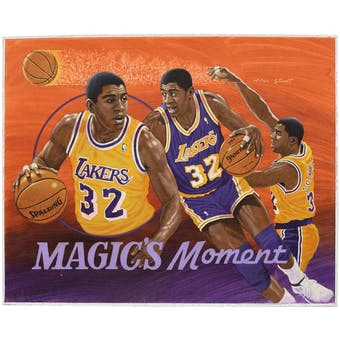 Magic Johnson Los Angeles Lakers Upper Deck 26 x 30 Unframed Original Art