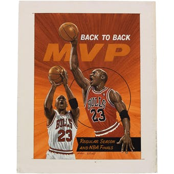 Michael Jordan Chicago Bulls - Alan Studt - Canvas Upper Deck 17 1/2 x 15 3/4 UnFramed Original Art