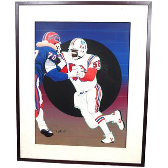 Andre Tippett New England Patriots Upper Deck 18 x 24 Framed Original Painting