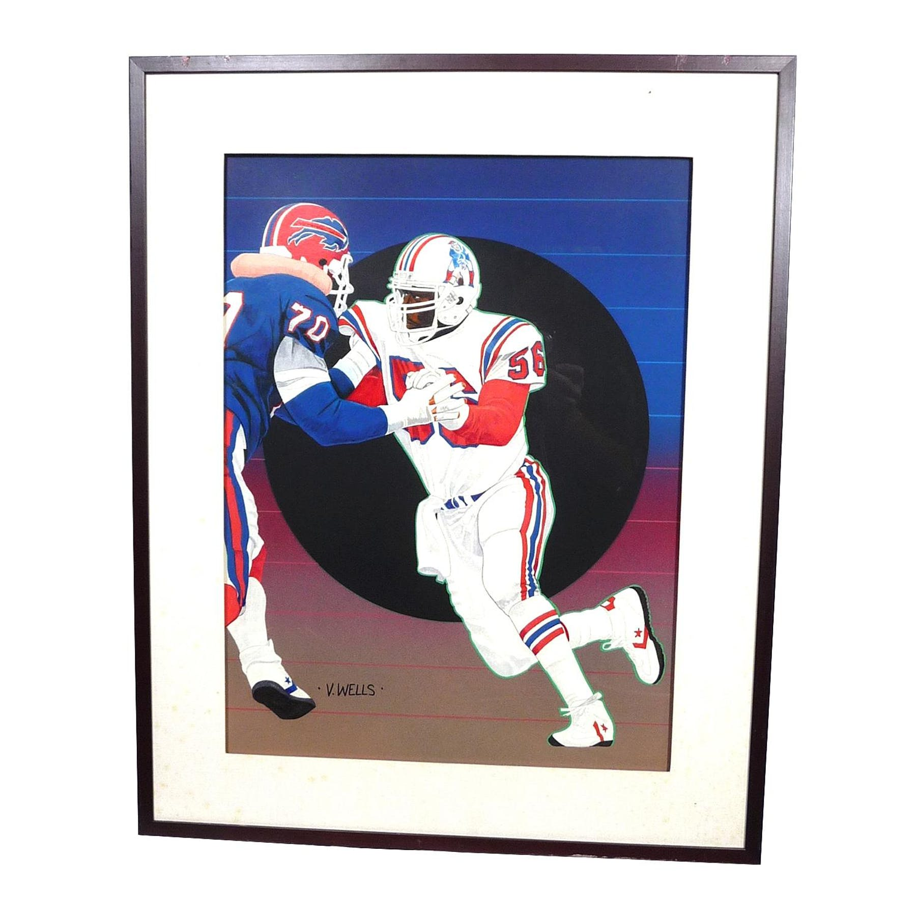 wholesale dealer fbd8f 9c6de Andre Tippett New England Patriots Upper Deck 18 x 24 Framed Original  Painting