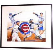 Chicago Cubs Team Ernie Banks Upper Deck 22 X 26 Framed Original Art