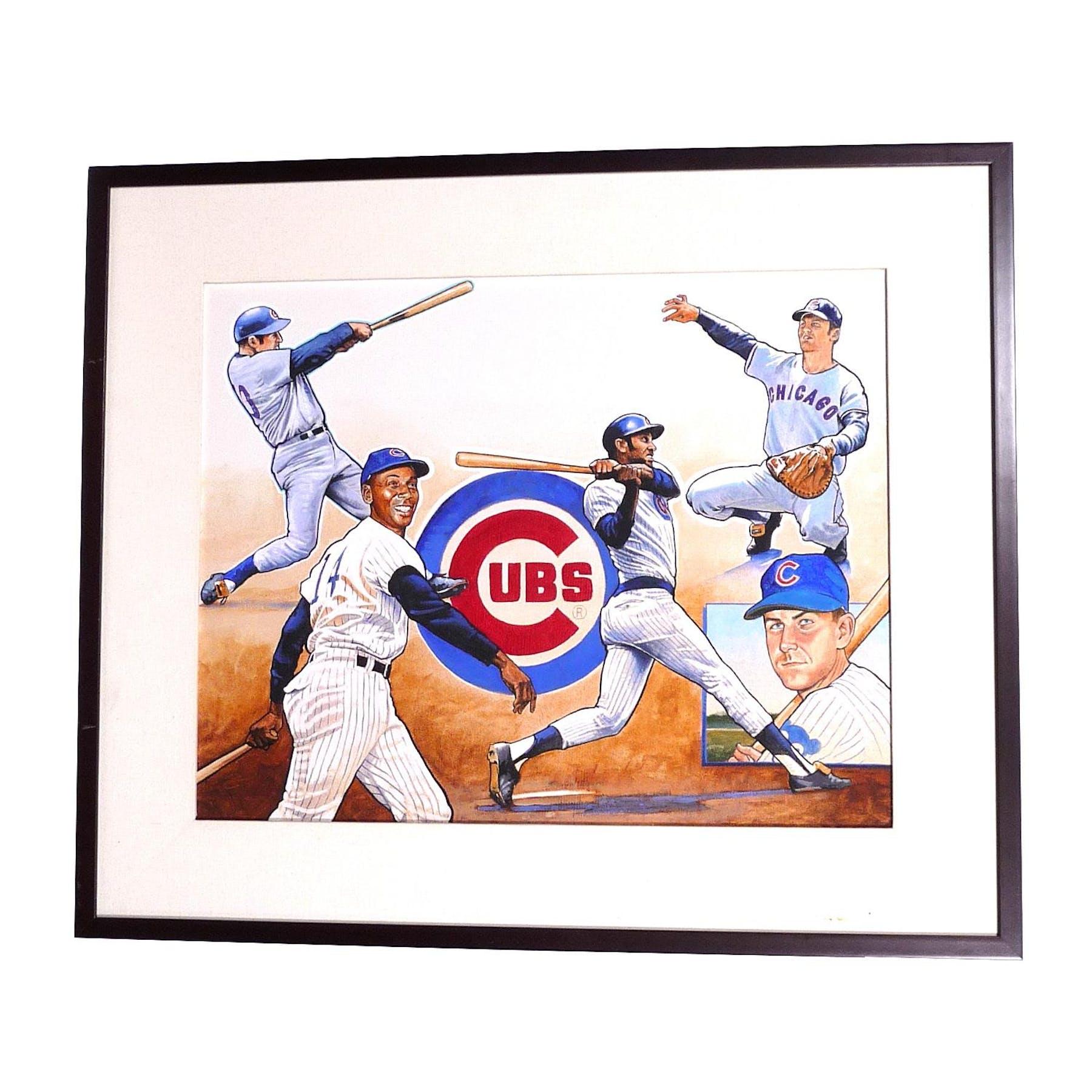 the latest 525f7 e140c Chicago Cubs Team Ernie Banks Upper Deck 22 X 26 Framed Original Art