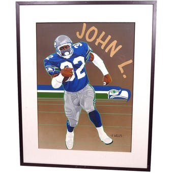 John L. Williams Seattle Seahawks Upper Deck 24 x 30 Framed Original Art