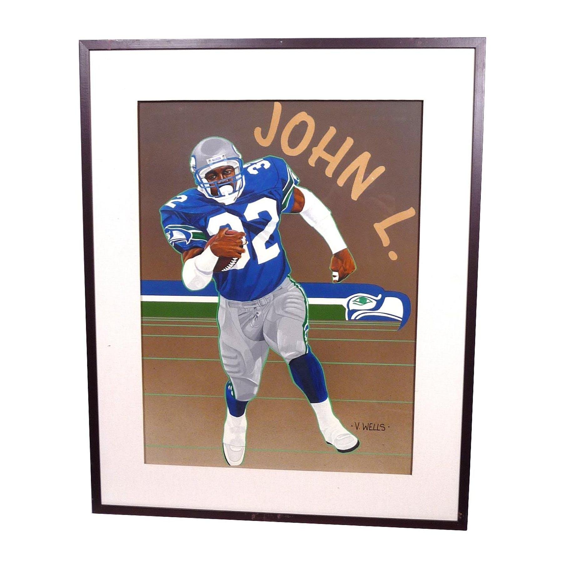 huge discount 3311d aad74 John L. Williams Seattle Seahawks Upper Deck 24 x 30 Framed Original Art