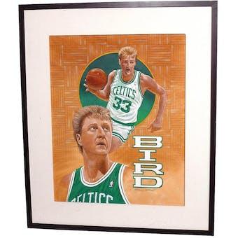 Larry Bird Boston Celtics Upper Deck 22 x 26 Framed Original Art
