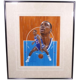 Lionel Simmons Sacramento Kings Upper Deck 26 X 30 Framed Original Painting