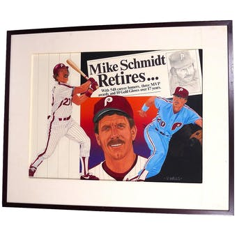 Mike Schmidt Philadelphia Phillies Upper Deck 18 x 24 Framed Original Painting