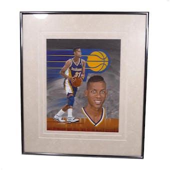 Reggie Miller Indiana Pacers Upper Deck 26 x 30 Framed Original Art