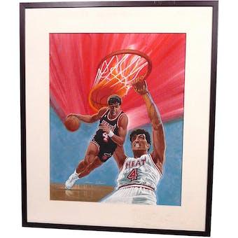 Rony Seikaly Miami Heat Upper Deck 22 X 26 Framed Original Art