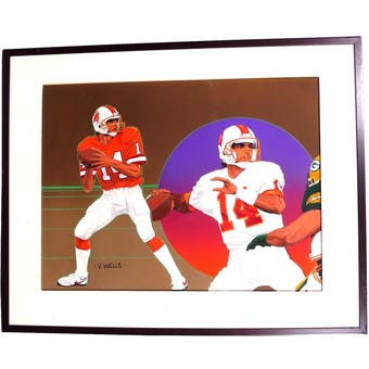 Vinny Testeverde Tampa Bay Buccaneers Upper Deck 24 x 30 Framed Original Art