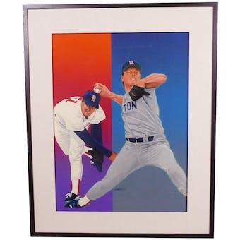 Roger Clemens Boston Red Sox Upper Deck 24 x 30 Framed Original Art