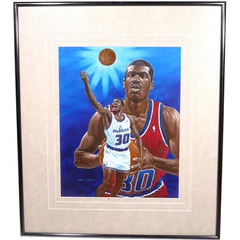 Bernard King Bullets State Warriors Upper Deck 26 x 30 Framed Original Art