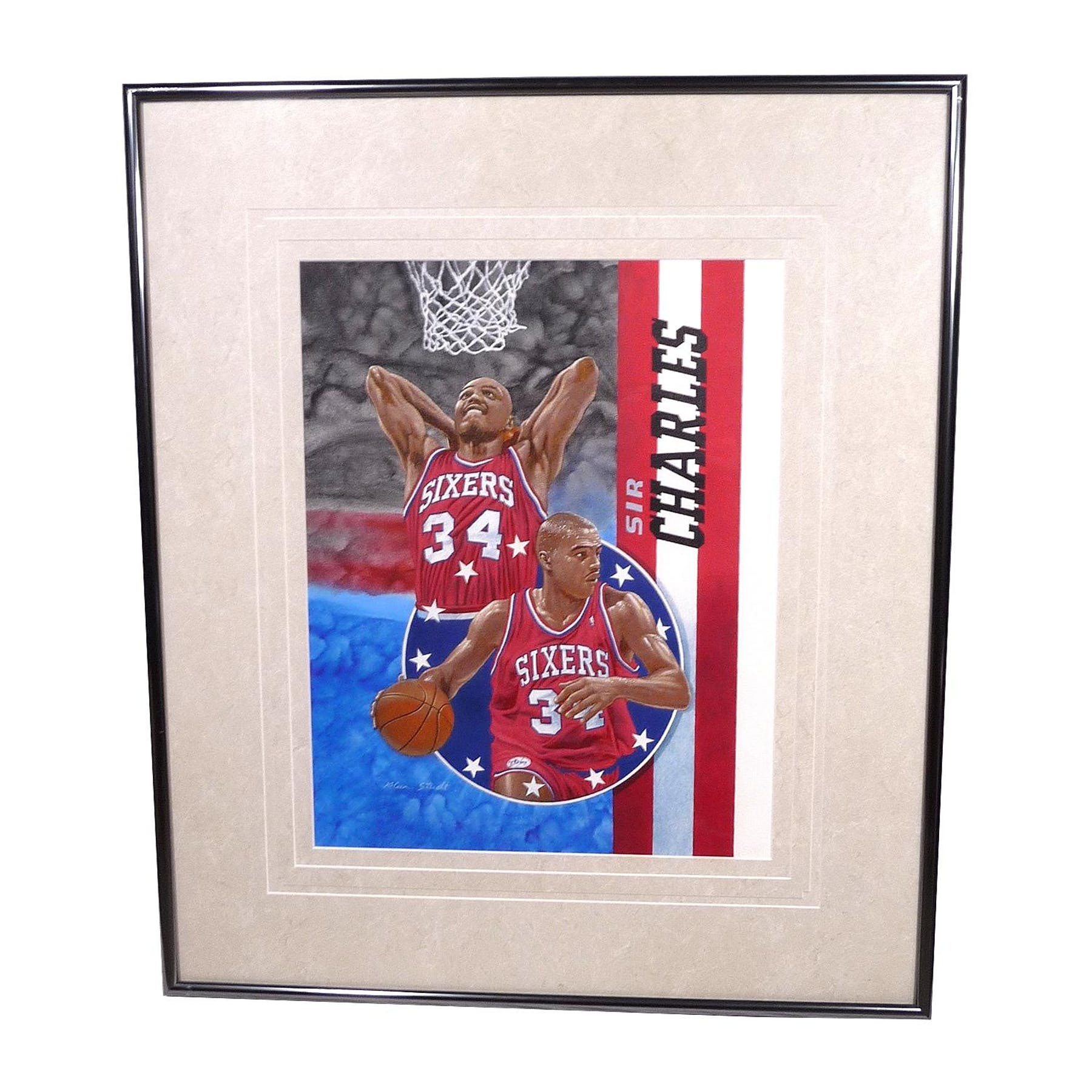 wholesale dealer 173b8 f01fd Charles Barkley Philadelphia 76ers Upper Deck 18 x 24 Framed Original  Painting