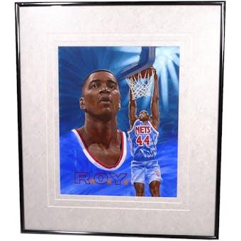 Derrick Coleman New Jersey Nets Upper Deck 26 x 30 Framed Original Art