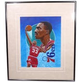 Hersey Hawkins Philadelphia 76ers Upper Deck 26 x 30 Framed Original Art