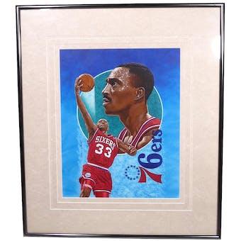 Hersey Hawkins Philadelphia 76ers Upper Deck 26 x 30 Framed Original Art