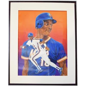 Darryl Strawberry New York Mets Upper Deck 24 x 30 Framed Original Art