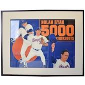 Nolan Ryan 5000 Strikeout Upper Deck 24 x 30 Framed Original Art
