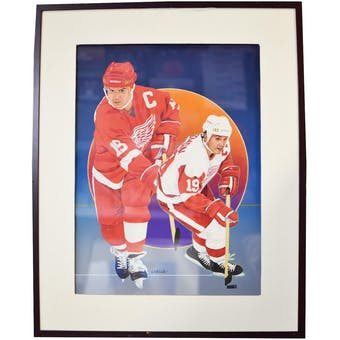 Steve Yzerman Detroit Red Wings Upper Deck 24 x 30 Framed Original Art