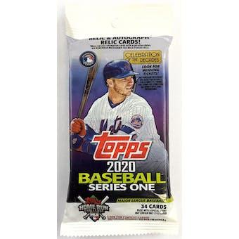 2020 Topps Series 1 Baseball Jumbo Value 34-Card Pack