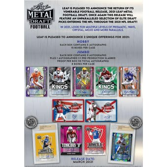 2021 Leaf Metal Draft Football Hobby Jumbo Box (Presell)