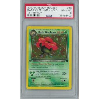 Pokemon Team Rocket 1st Edition Dark Vileplume 13/82 PSA 8