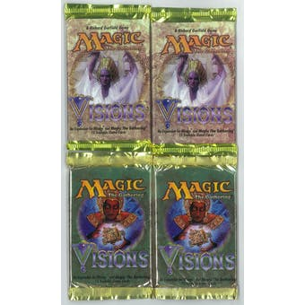 Magic the Gathering Visions Booster Pack 4x LOT - 2 Preview Printing Packs!