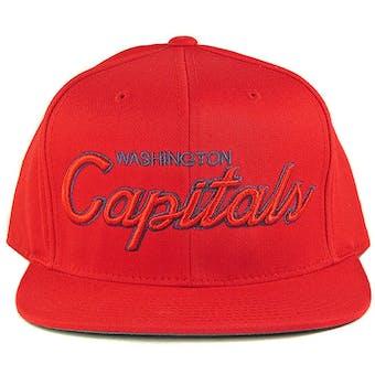 Washington Capitals Reebok Red Script Snapback Adjustable Hat (Adult One Size)