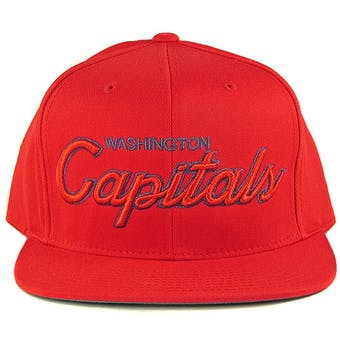 Washington Capitals Reebok Red Script Snapback Adjustable Hat (Adult One Size)