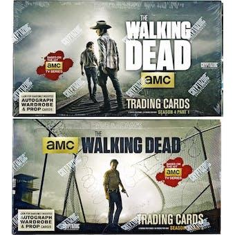 The Walking Dead Season 4 Part 1 + Part 2 Trading Cards 2-Box COMBO (Cryptozoic 2016)