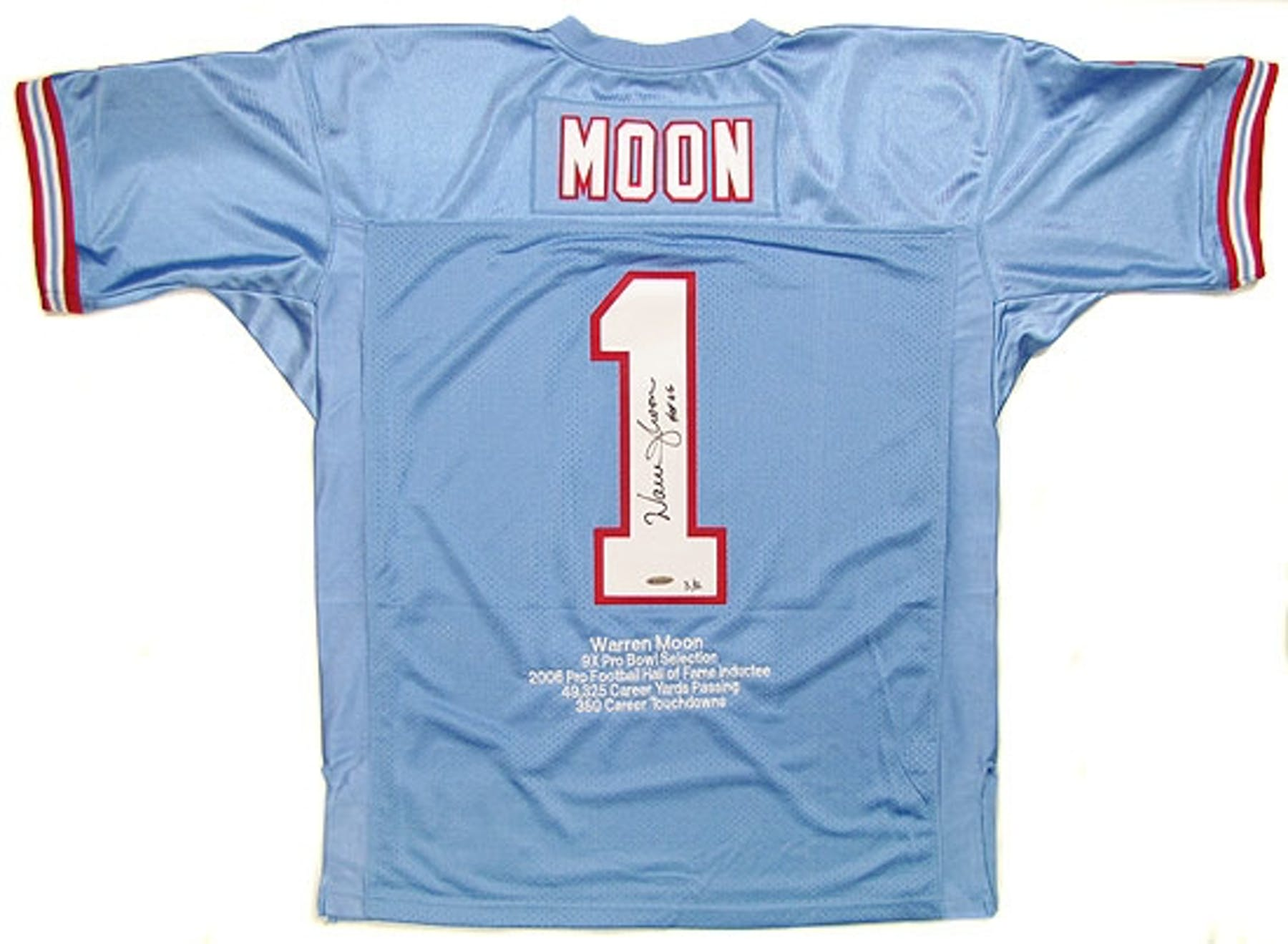 Warren Moon Autographed Houston Oilers Mitchell   Ness Throwback Stat Jersey    12 f865086f5