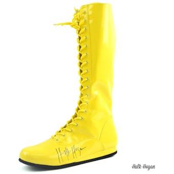 Hulk Hogan Autographed Yellow Wrestling Boot WWE
