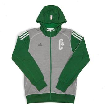 Boston Celtics Adidas Heather Grey & Green Pre-Game Full Zip Fleece Hoodie (Adult L)